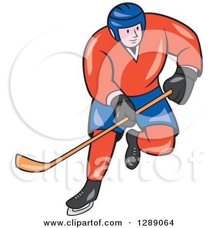 Clipart of a Cartoon White Male Hockey Player Skating in a Red and Blue Uniform - Royalty Free Vector Illustration by patrimonio