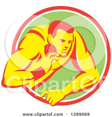 Clipart of a Retro Male Track and Field Shot Put Athlete Throwing in a Pink White and Green Circle - Royalty Free Vector Illustration by patrimonio