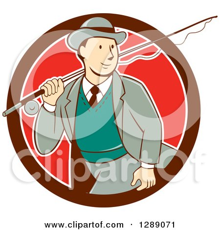 Clipart of a Retro Cartoon White Male Tourist Walking with a Fly Fishing Rod over His Shoulder in a Maroon White and Red Circle - Royalty Free Vector Illustration by patrimonio
