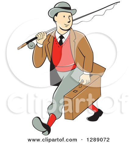 Clipart of a Retro Cartoon White Male Tourist Walking and Carrying a Suitcase and Fly Fishing Rod - Royalty Free Vector Illustration by patrimonio
