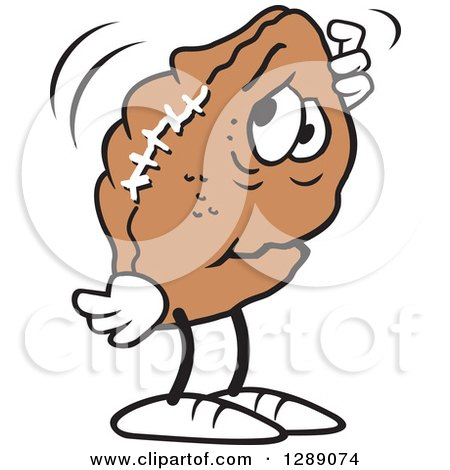 Sports Clipart Of A Worried Deflated Football Scratching His Head Royalty Free Vector Illustration