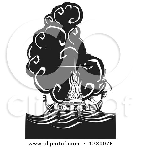 Clipart of a Black and White Woodcut Ceremony of a Viking Chief Being Burned on a Longboat - Royalty Free Vector Illustration by xunantunich