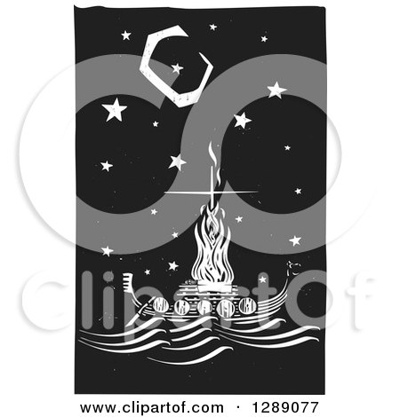 Clipart of a Black and White Woodcut Ceremony of a Viking Chief Being Burned on a Longboat Under a Night Sky - Royalty Free Vector Illustration by xunantunich