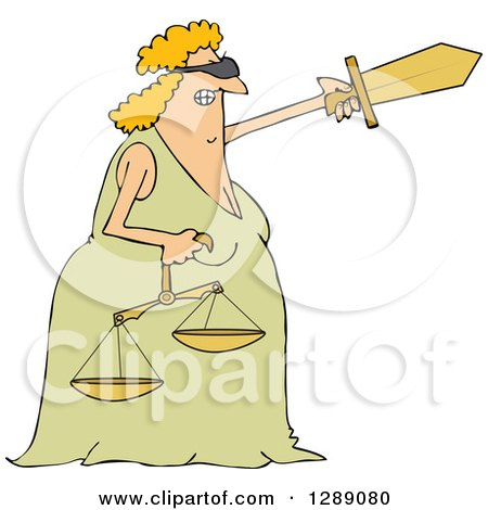 Clipart of a Tough Blindfolded Lady Justice Holding Scales and Pointing with a Sword - Royalty Free Vector Illustration by djart