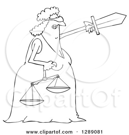 Clipart of a Black and White Tough Blindfolded Lady Justice Holding Scales and Pointing with a Sword - Royalty Free Vector Illustration by djart