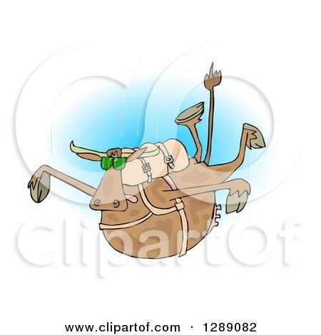 Clipart of a Brown Cow Free Falling While Skydiving, over Blue - Royalty Free Illustration by djart
