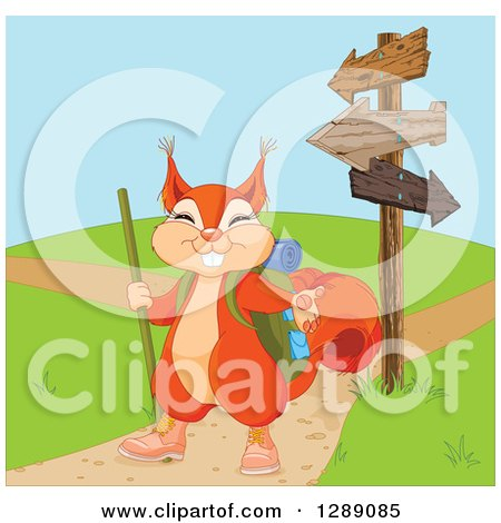 Animal Clipart of a Cute Presenting Squirrel in Hiking Gear by Arrow Signs and Paths - Royalty Free Vector Illustration by Pushkin