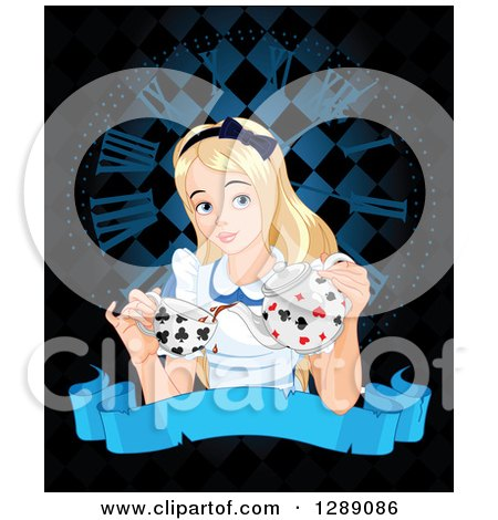 Clipart of Alice in Wonderland Pouring Tea over a Clock and Blank Banner on Black - Royalty Free Vector Illustration by Pushkin