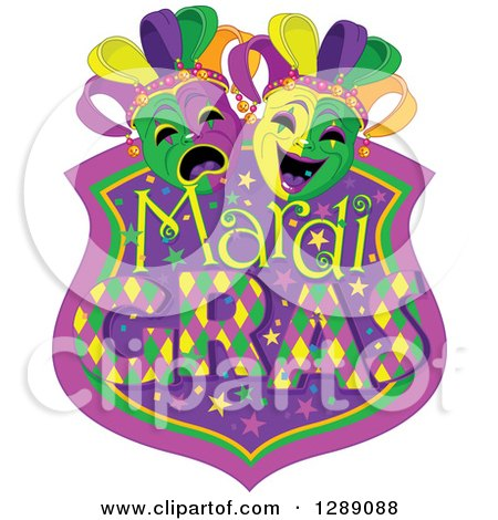 Clipart of a Purple Green and Gold Mardi Gras Shield with Masks - Royalty Free Vector Illustration by Pushkin
