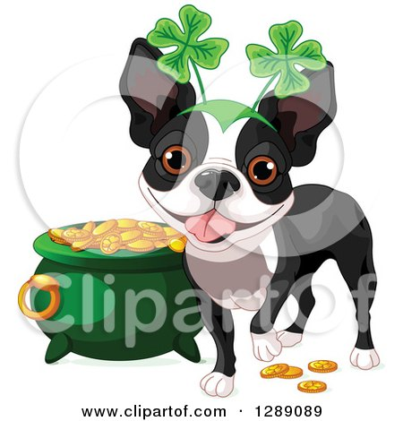 Animal Clipart of a Cute St Patricks Day Boston Terrier Dog Wearing a Shamrock Headband by a Pot of Gold - Royalty Free Vector Illustration by Pushkin