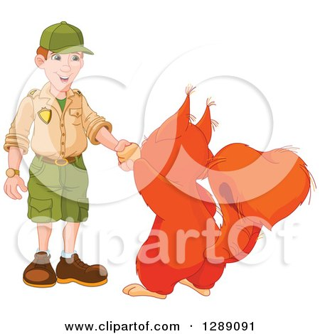 Animal Clipart of a Cute Giant Squirrel Shaking Hands with a White Male Park Ranger - Royalty Free Vector Illustration by Pushkin