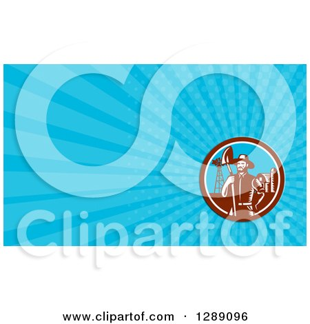 Clipart of a Retro Woodcut Male Farmer with a Spade Shovel on a Farm and Blue Rays Background or Business Card Design - Royalty Free Illustration by patrimonio