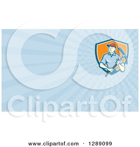 Clipart of a Retro Cartoon Male Construction Worker Holding a Pickaxe and Blue Rays Background or Business Card Design - Royalty Free Illustration by patrimonio