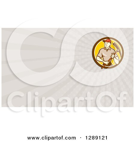 Clipart of a Retro Cartoon Male Construction Worker Holding a Pickaxe and Taupe Rays Background or Business Card Design - Royalty Free Illustration by patrimonio