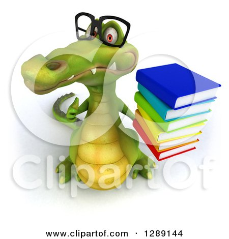 Clipart of a 3d Bespectacled Crocodile Holding up a Thumb and a Stack of Books - Royalty Free Illustration by Julos