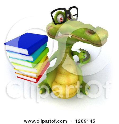 Clipart of a 3d Bespectacled Crocodile Holding up a Thumb down and a Stack of Books - Royalty Free Illustration by Julos