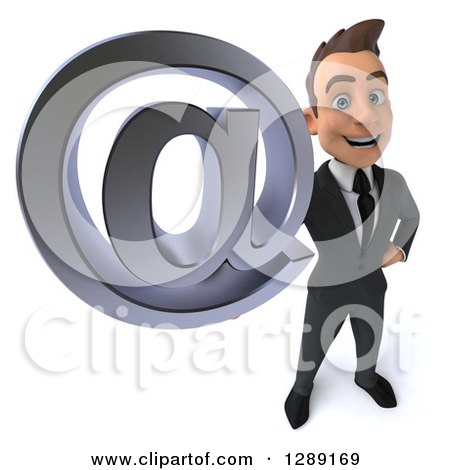 3d Young Brunette White Businessman Holding up an Email Arobase at Symbol Posters, Art Prints