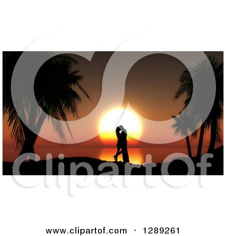 Clipart of a Romantic Silhouetted Couple Kissing Between Palm Trees Against an Orange Ocean Sunset - Royalty Free Illustration by KJ Pargeter