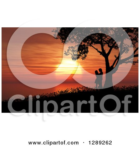 Clipart of a Romantic Silhouetted Couple Kissing Under a Tree Against an Orange Ocean Sunset - Royalty Free Illustration by KJ Pargeter
