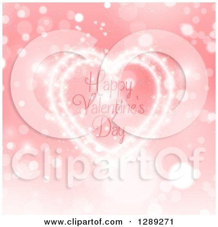 Clipart of Happy Valentines Day Text Inside a Heart of Light over Bokeh and Pink - Royalty Free Vector Illustration by KJ Pargeter