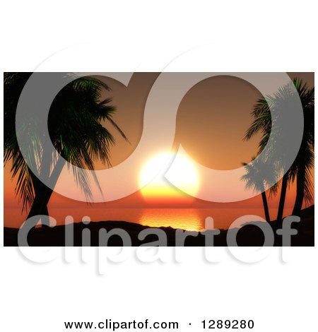 Clipart of 3d Silhouetted Tropical Palm Trees and Hills Overlooking an Orange Ocean Sunset - Royalty Free Illustration by KJ Pargeter