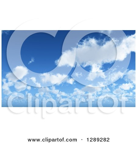Clipart of a Puffy Clouds and Blue Sky Nature Background - Royalty Free Illustration by KJ Pargeter