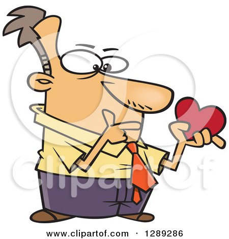 Single White Valentines Day Man Thinking and Holding a Heart Posters, Art Prints