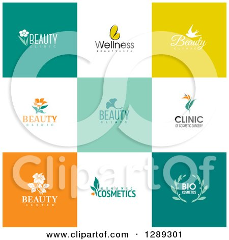 Clipart of Flat Design Beauty Business Logo Icons with Text on Colorful Tiles 3 - Royalty Free Vector Illustration by elena