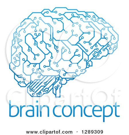 Clipart of a Blue Artificial Intelligence Circuit Board Brain over Sample Text - Royalty Free Vector Illustration by AtStockIllustration