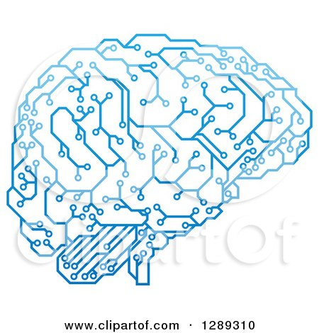 Clipart of a Blue Artificial Intelligence Circuit Board Brain - Royalty Free Vector Illustration by AtStockIllustration