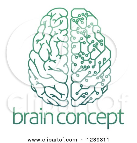 Clipart of a Gradient Green Half Human, Half Artificial Intelligence Circuit Board Brain over Sample Text - Royalty Free Vector Illustration by AtStockIllustration