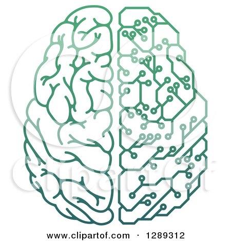 Clipart of a Gradient Green Half Human, Half Artificial Intelligence Circuit Board Brain - Royalty Free Vector Illustration by AtStockIllustration