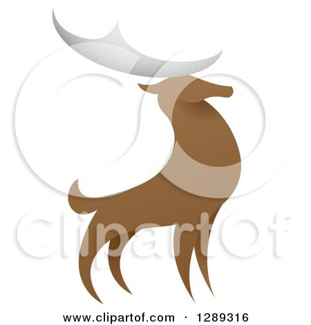 Clipart of a Standing Stag Deer Buck - Royalty Free Vector Illustration by AtStockIllustration
