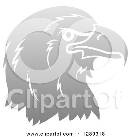 Clipart of a Gradient Gray Eagle or Falcon Head in Profile - Royalty Free Vector Illustration by AtStockIllustration