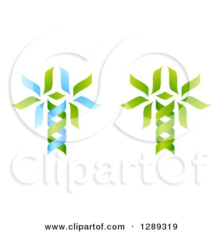 Clipart of Green and Blue DNA Double Helix Trees Shaped like Caduceuses - Royalty Free Vector Illustration by AtStockIllustration