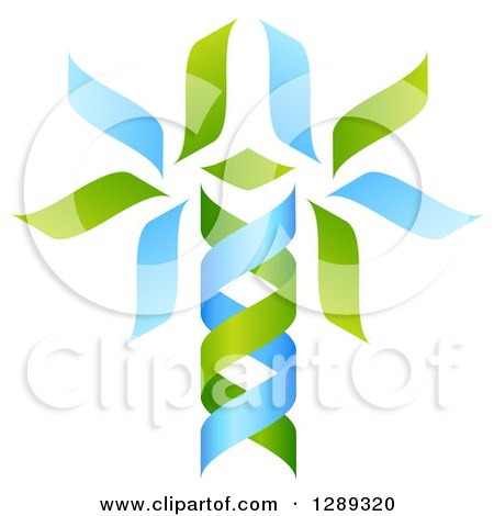 Clipart of a Green and Blue DNA Double Helix Tree Shaped like a Caduceus - Royalty Free Vector Illustration by AtStockIllustration