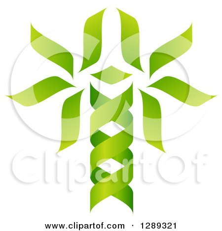 Clipart of a Green DNA Double Helix Tree Shaped like a Caduceus - Royalty Free Vector Illustration by AtStockIllustration
