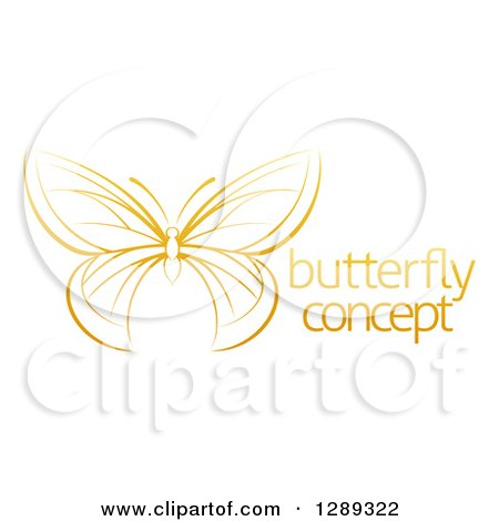 Clipart of a Gradient Dark Yellow Butterfly with Sample Text - Royalty Free Vector Illustration by AtStockIllustration