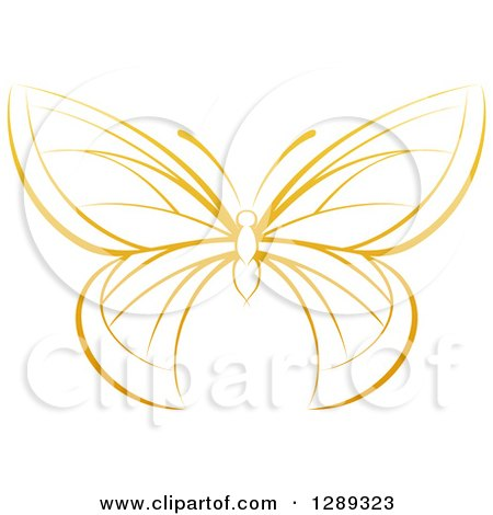 Clipart of a Gradient Dark Yellow Butterfly - Royalty Free Vector Illustration by AtStockIllustration