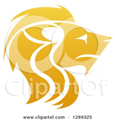 Clipart of a Gradient Golden Male Lion Head in Profile - Royalty Free Vector Illustration by AtStockIllustration
