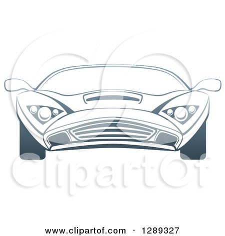 Clipart of a Gradient Dark Blue Sports Car - Royalty Free Vector Illustration by AtStockIllustration