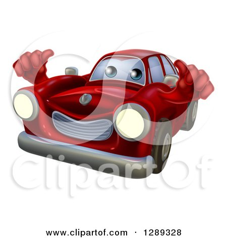 Clipart of a Happy Red Car Holding Two Thumbs up - Royalty Free Vector Illustration by AtStockIllustration