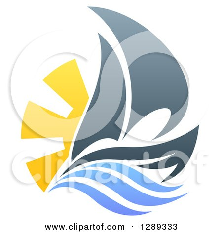 Clipart of a Sailing Boat with the Sun and Ocean Waves - Royalty Free Vector Illustration by AtStockIllustration