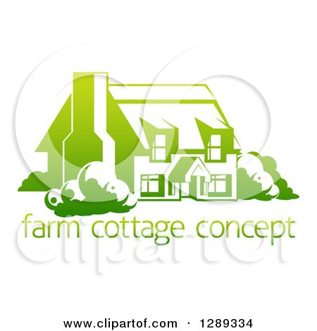Clipart of a Gradient Green Country Cottage House over Sample Text - Royalty Free Vector Illustration by AtStockIllustration