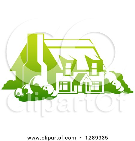 Clipart of a Gradient Green Country Cottage House - Royalty Free Vector Illustration by AtStockIllustration