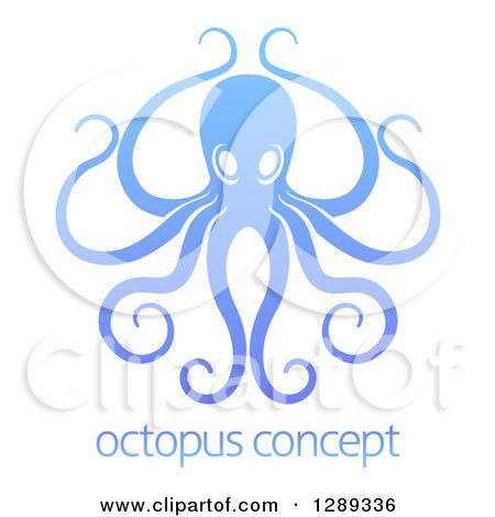Clipart of a Gradient Blue Octopus with Long Tentacles over Sample Text - Royalty Free Vector Illustration by AtStockIllustration