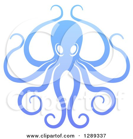 Clipart of a Gradient Blue Octopus with Long Tentacles - Royalty Free Vector Illustration by AtStockIllustration