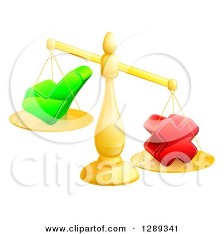 Clipart of a 3d Unbalanced Gold Scales Weighing a Check Mark and X Cross - Royalty Free Vector Illustration by AtStockIllustration