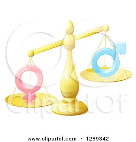 Clipart of a 3d Unbalanced Gold Scale Weighing Gender Inequality Symbols - Royalty Free Vector Illustration by AtStockIllustration