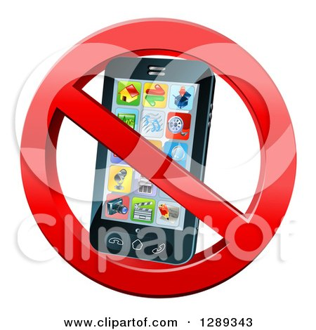 Clipart of a 3d Black Touch Screen Smart Cell Phone in a Restricted Symbol - Royalty Free Vector Illustration by AtStockIllustration